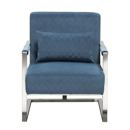 Studio Collection STUDIOCHBU Accent Chair with Velvet  Diamond Tuft  Stainless Frame and Coordinating Accent Pillow in