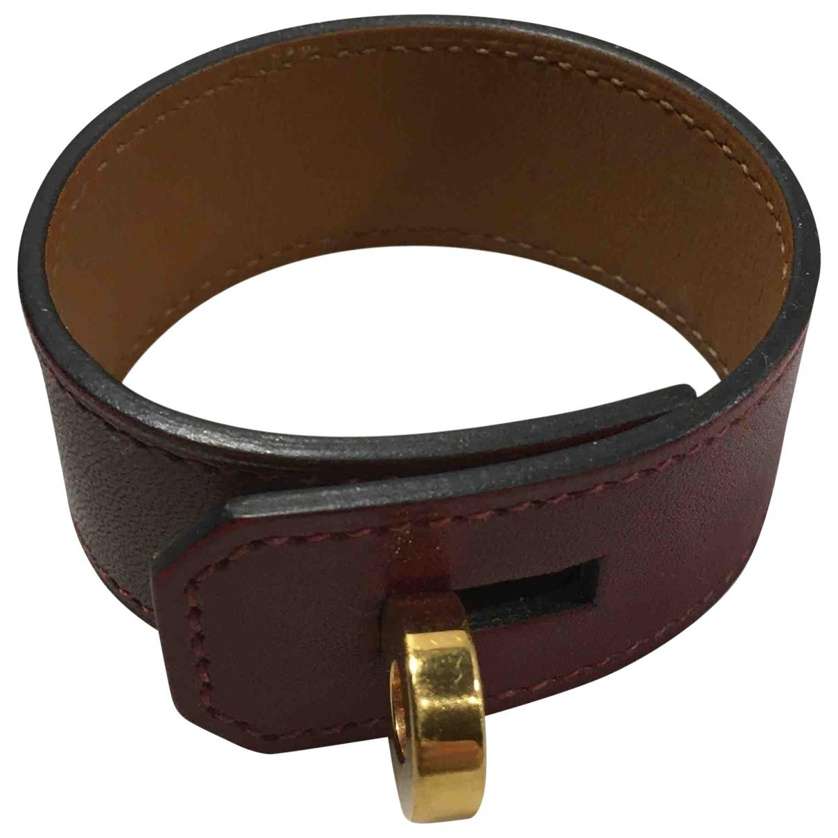 Hermes - Bracelet   pour femme en cuir - bordeaux