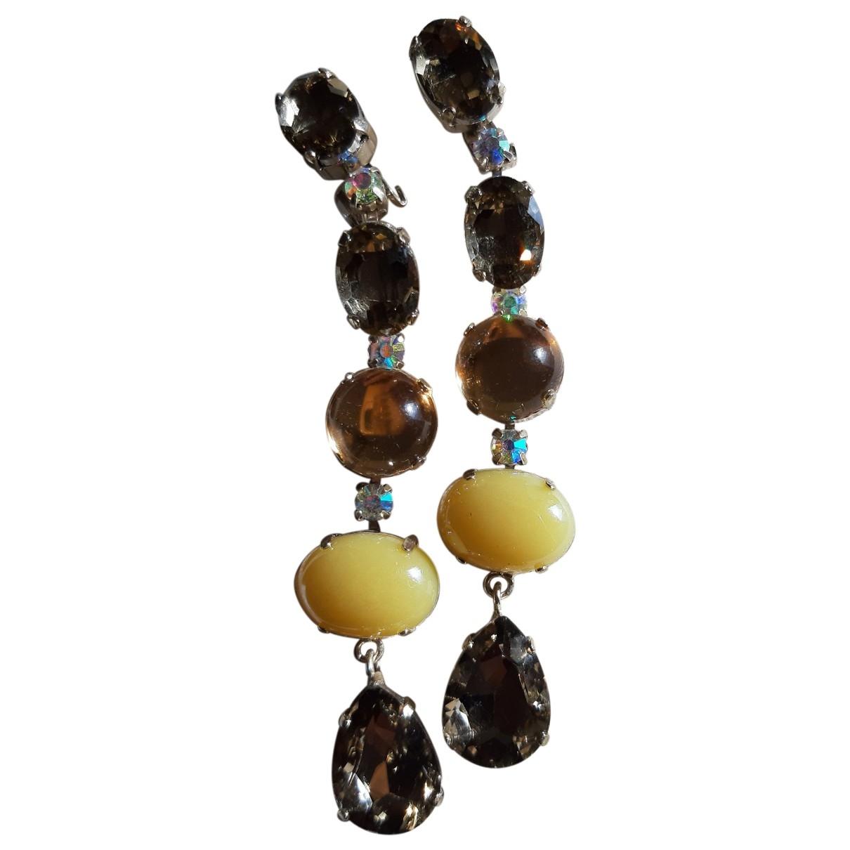 - Boucles doreilles   pour femme en cristal - marron