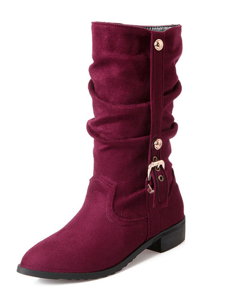 Milanoo Buckle Pointed Toe Micro Suede Mid Calf Boots