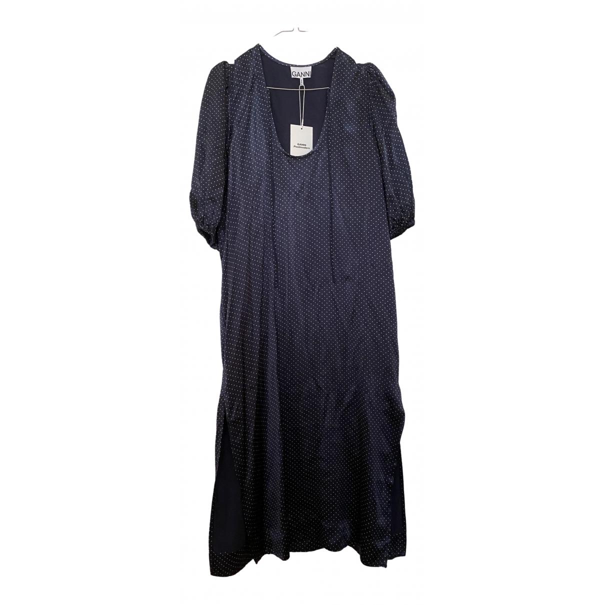 Ganni \N Kleid in  Marine Viskose