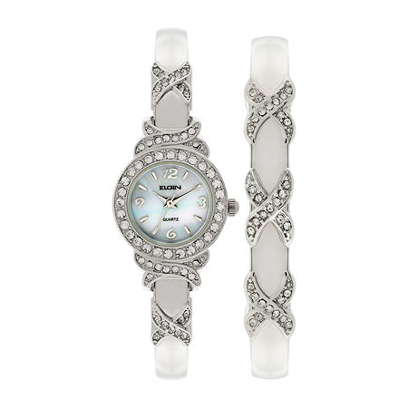 Elgin Womens Silver-Tone Crystal Accent Bangle Watch Set, One Size , No Color Family
