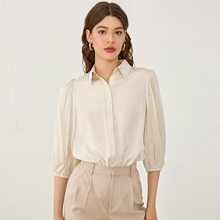 Button Front Solid Blouse