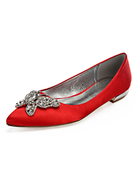 Milanoo Satin Wedding Flats Champagne Pointed Toe Rhinestones Butterfly Shape Bridesmaid Shoes