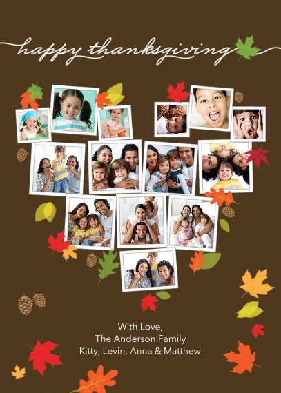 Thanksgiving Photo Cards Mail-for-Me Premium 5x7 Flat Card, Card & Stationery -Thanksgiving Heart Snapshots