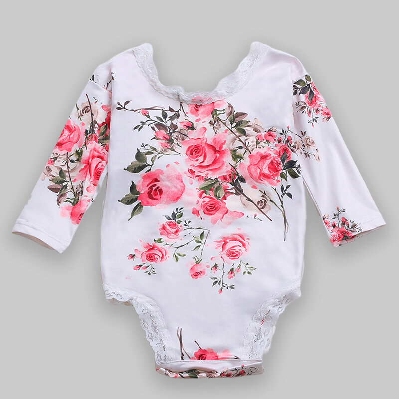 Baby Lace Patchwork Flower Casual Rompers For 6-24M