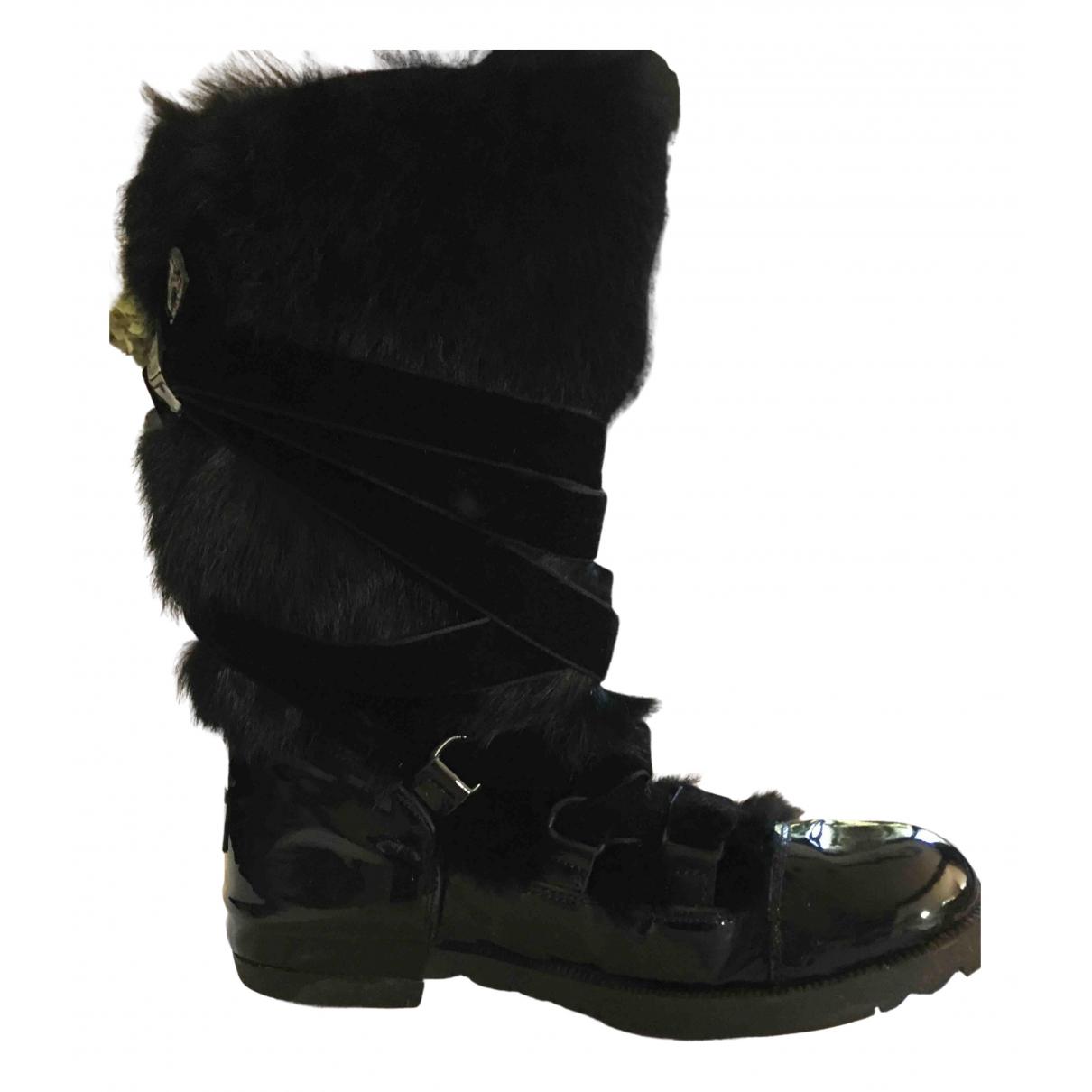 Sonia Rykiel - Boots   pour femme en cuir verni - noir