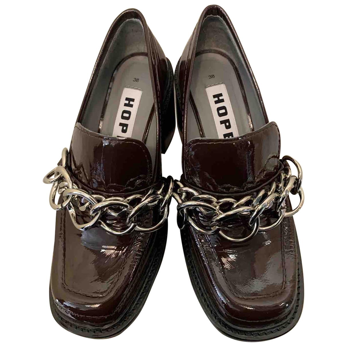 Hope \N Brown Patent leather Heels for Women 38 EU
