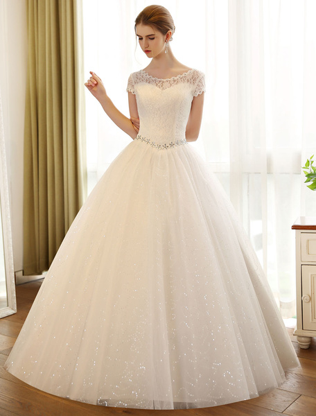 Milanoo Princess Ball Gown Wedding Dresses Lace Sequin Bridal Dress Ivory Beading Sash Backless Wedding Gowns