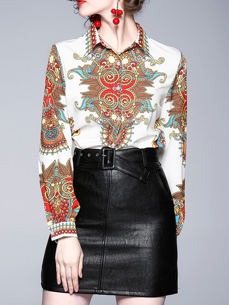 Milanoo Blouse For Women White Turndown Collar Long Sleeve Printed Casual Shirt
