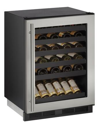 U1224WCS00B 24 Built-In Wine Storage with 48 Bottle Capacity  LED Lighting  Vinyl Racking  Reversible Door Swing and Digital Touch Pad Control: