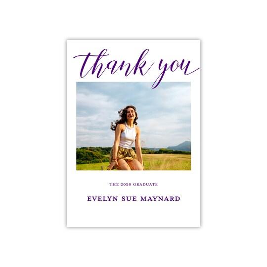 Gartner Studios® Personalized Clear Script Flat Graduation Thank You in Eggplant | 5