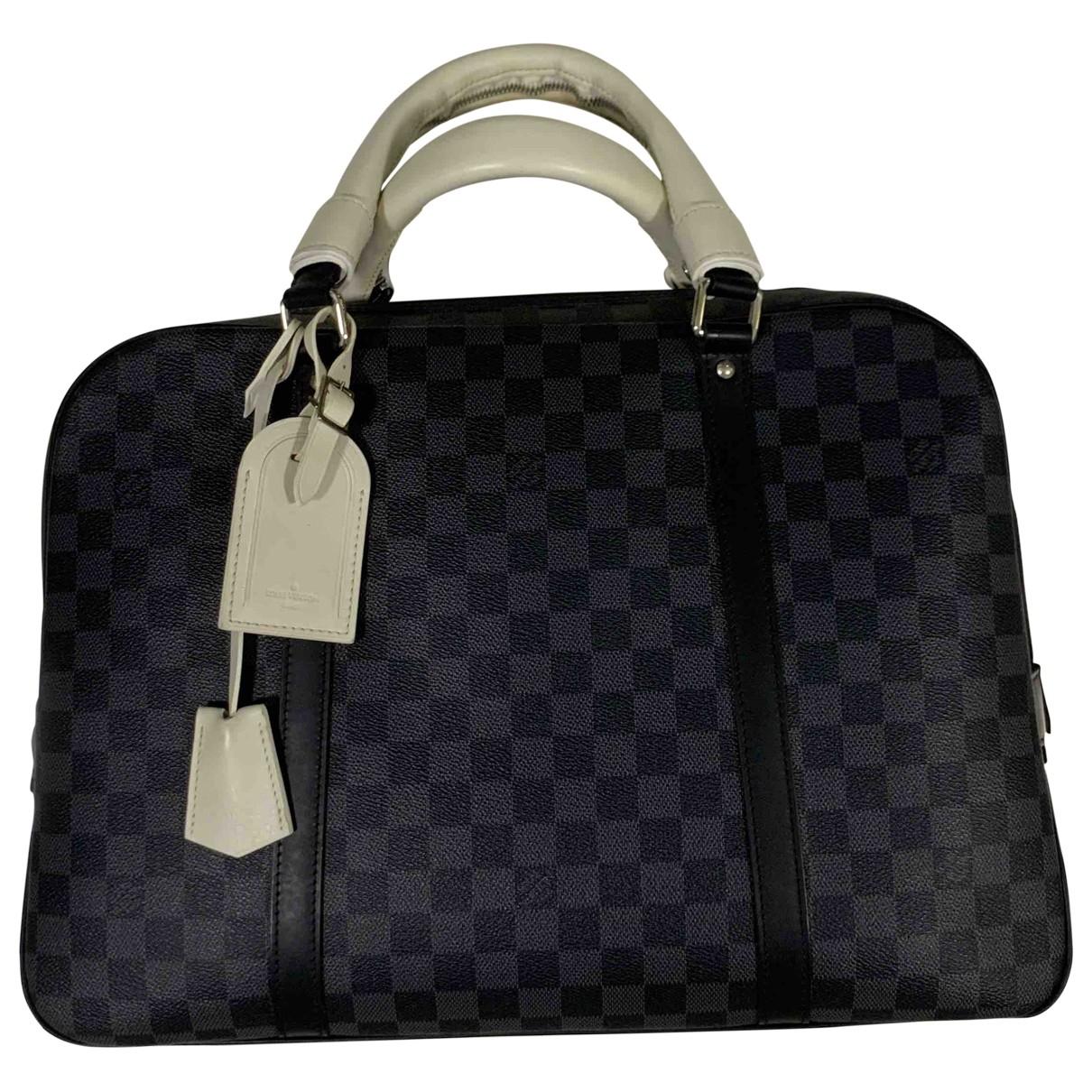 Louis Vuitton Porte Documents Jour Taschen in  Anthrazit Leinen