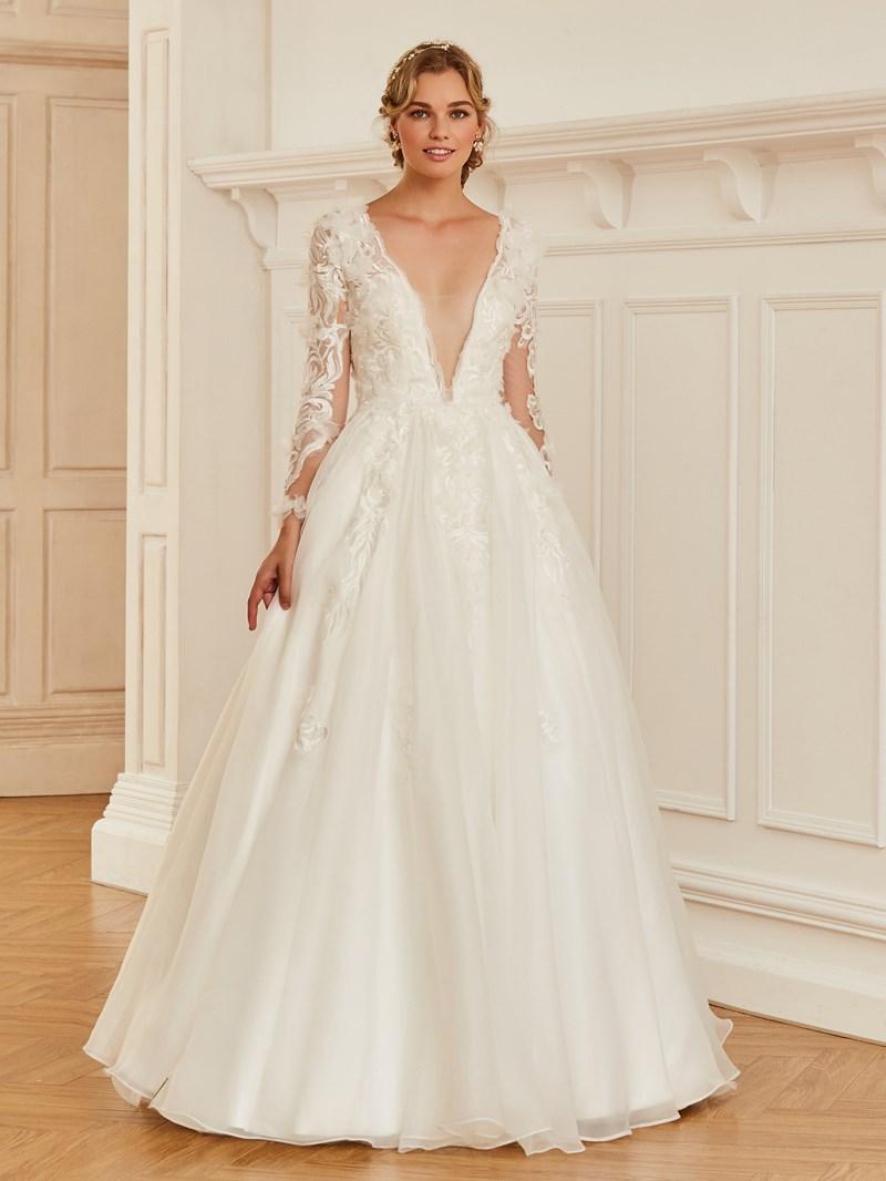 Ericdress V Neck Long Sleeves Ball Gown Wedding Dress