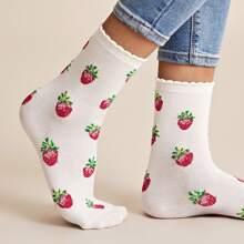 Strawberry Print Scalloped Crew Socks
