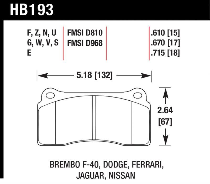 Hawk Performance HB193G.610 Disc Brake Pad