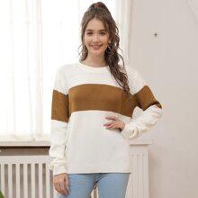 Kate Kasin Drop Shoulder Color Block Sweater