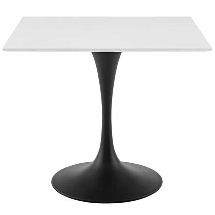 Lippa Collection EEI-3514-BLK-WHI 36 Dining Table with Square Shape  Chip Resistant Material  Powder-Coated Metal Pedestal Base and Medium-Density