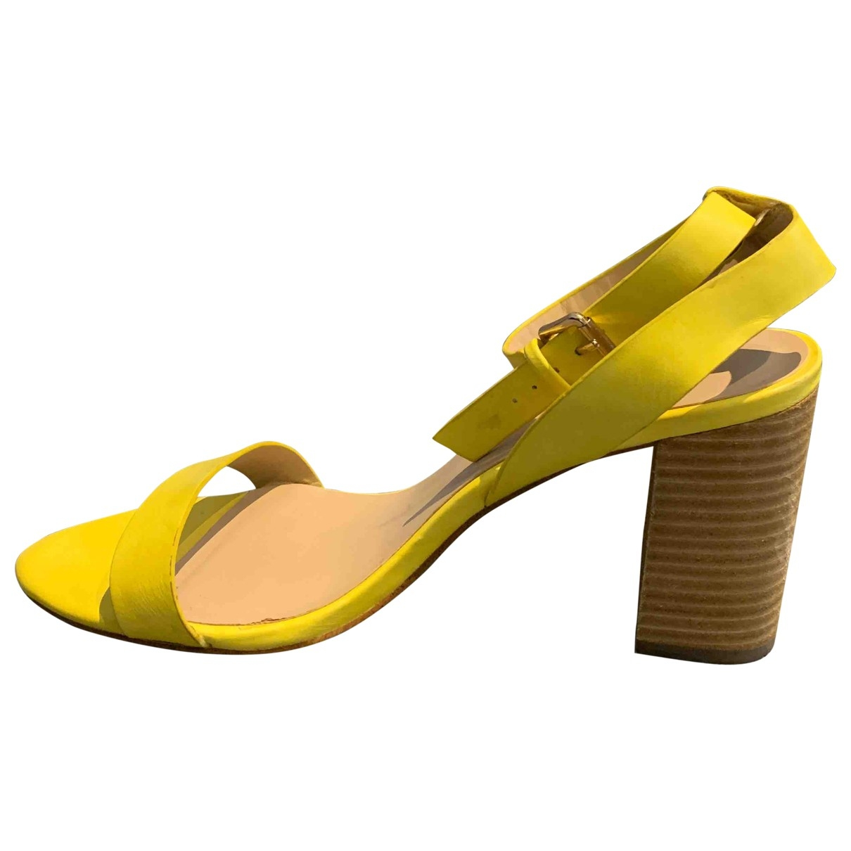 - Sandales   pour femme en cuir - jaune