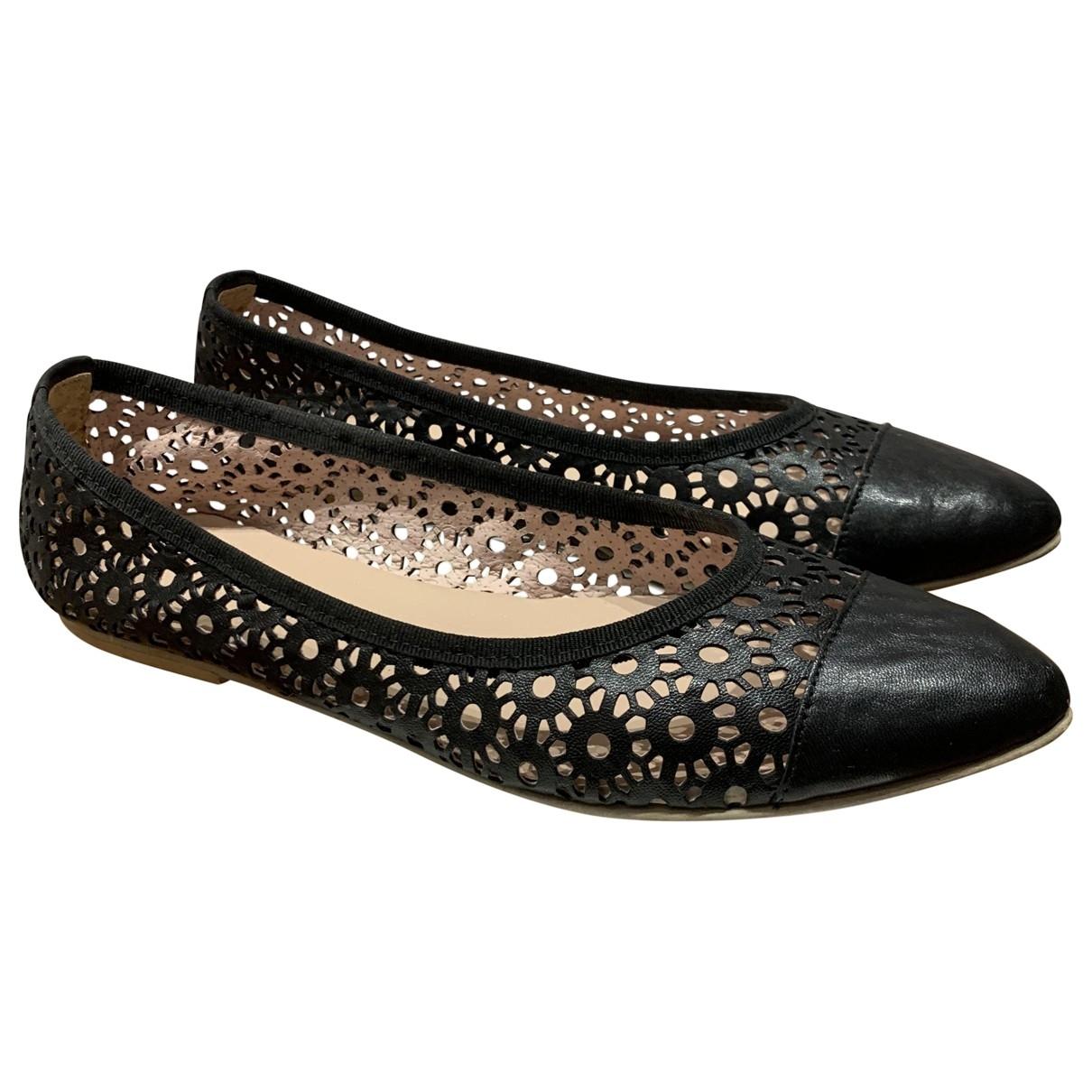 - Ballerines   pour femme en cuir - noir