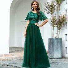 Flutter Sleeve Sequin Bodice Mesh Prom Dress