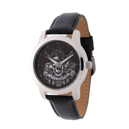 Disney Pirates of the Carribean Mens Black Leather Strap Watch-Wds000377, One Size , No Color Family