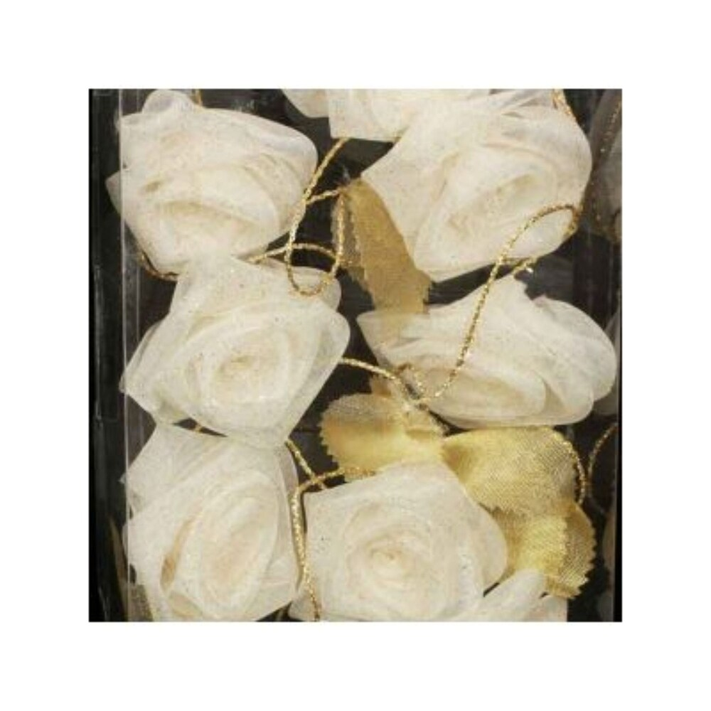 Wired Rose Garland 9 Feet Ivory/gold (Nylon)