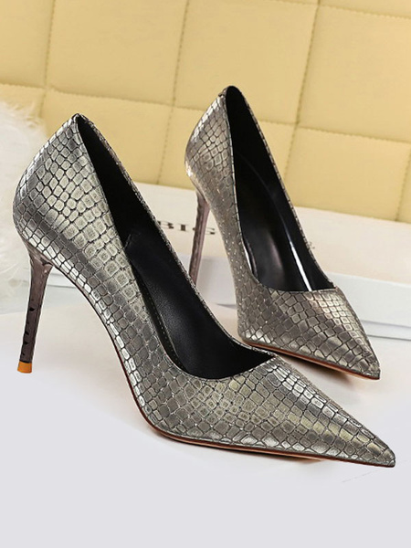 Milanoo Women\'s High Heel Party Shoes Silver Pointed Toe Sequins Evening Shoes