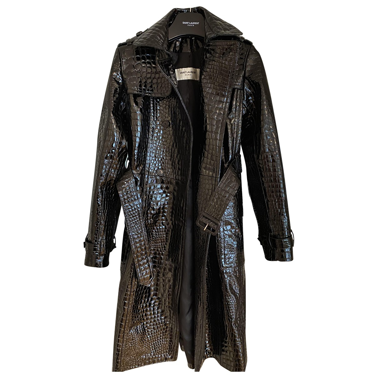 Saint Laurent \N Black Leather coat for Women 38 FR