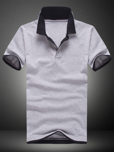Milanoo Short Sleeves Cotton Short Sleeves Polo Shirt
