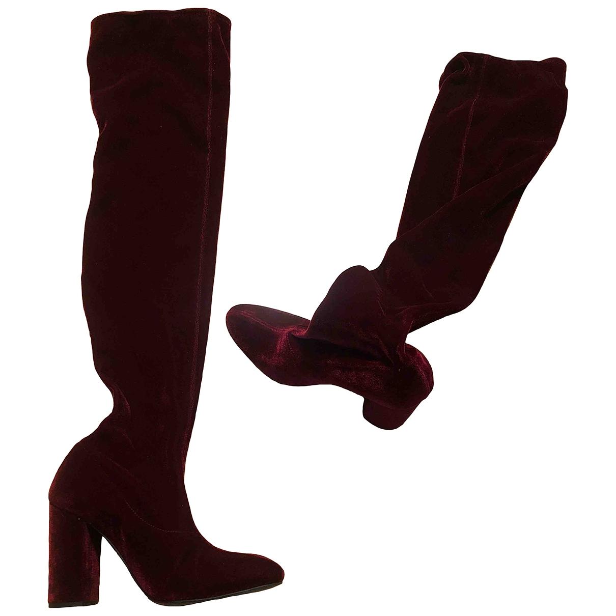 Zara \N Burgundy Velvet Boots for Women 37 EU