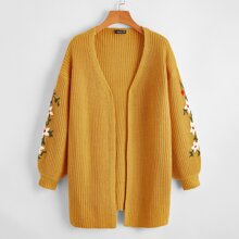 Open Front Drop Shoulder Embroidery Floral Cardigan
