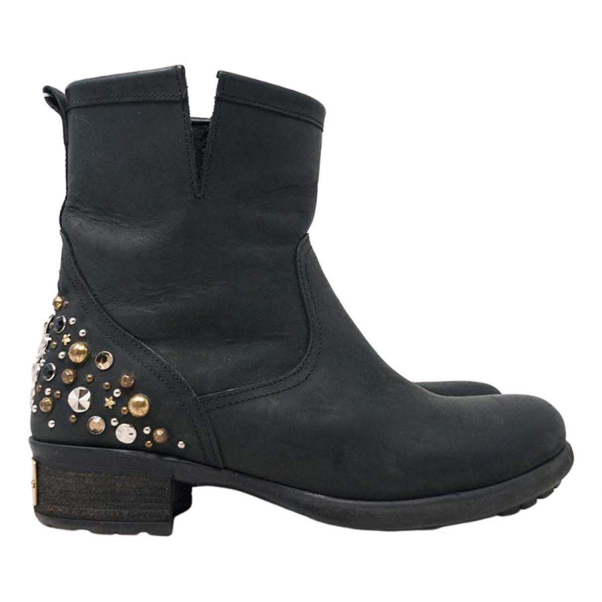 Chiara Ferragni N Black Leather Ankle boots for Women 37 IT