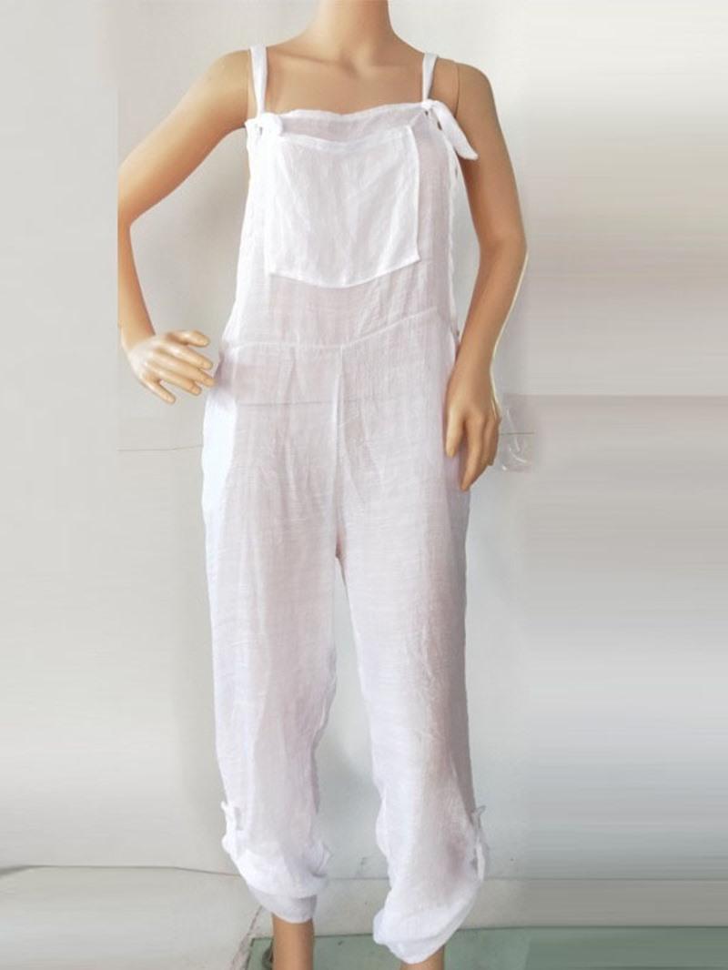 Ericdress Full Length Plain Loose Mid Waist Jumpsuit