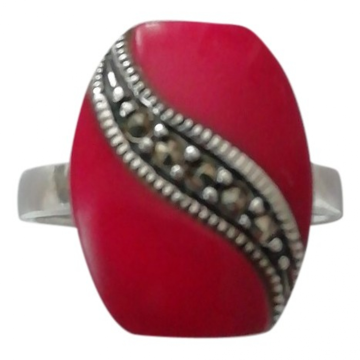 Non Signé / Unsigned Art Déco Red Silver ring for Women 57 MM