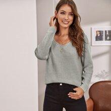 V Neck Solid Sweater