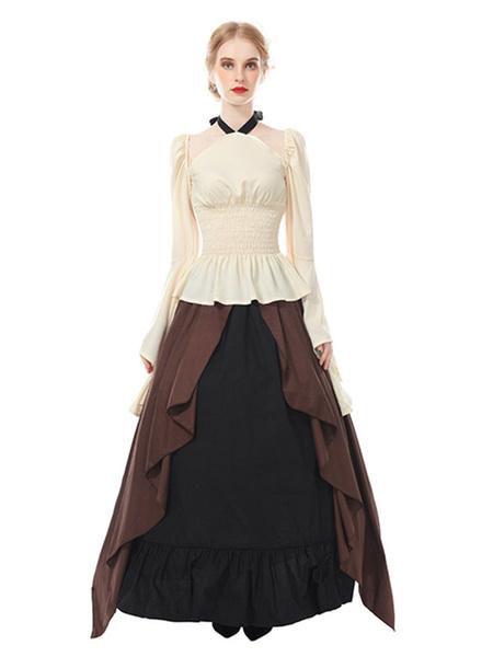 Milanoo Medieval Renaissance Set Top Skirt Gothic Victorian Women Irish Fair Pirate Peasant Bodice Dress Halloween Cosplay Costume