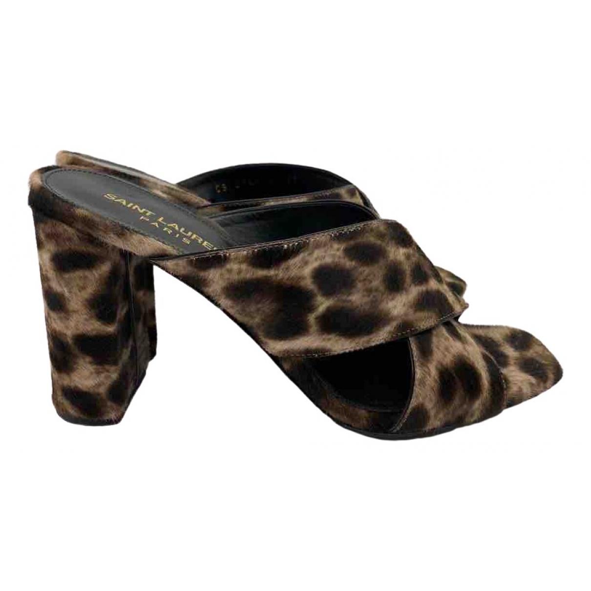 Saint Laurent Loulou Brown Pony-style calfskin Sandals for Women 37 EU