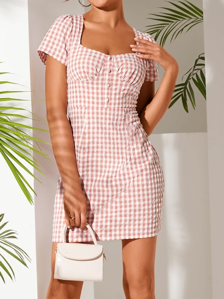 YOINS Pink Backless Plaid Square Neck Puff Sleeves Dress