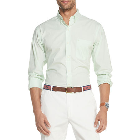 IZOD Mens Solid Long Sleeve Essential Woven Button-Down Shirt, Xx-large , Green