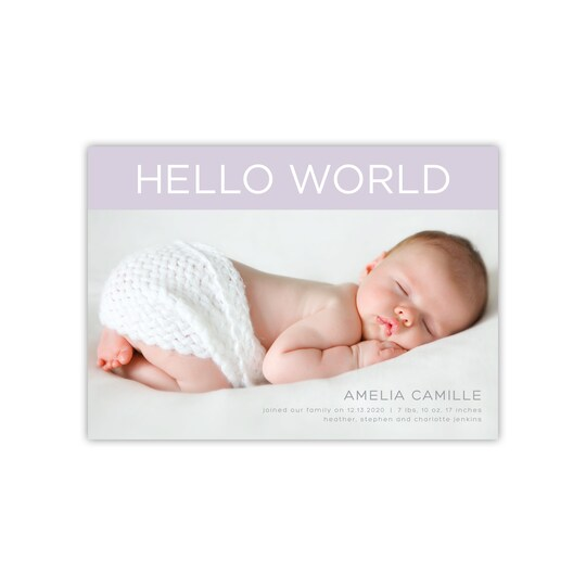 20 Pack of Gartner Studios® Personalized Hello World Flat Baby Announcement in Periwinkle | 5