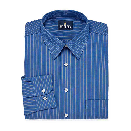 Stafford Mens Wrinkle Free Stain Resistant Stretch Super Dress Shirt, 16 32-33, Blue