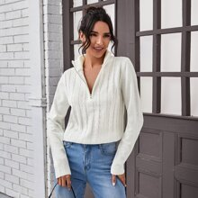 Zip Half Placket Cable Knit Sweater