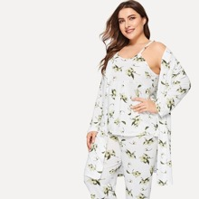 Plus Floral Print Cami Pajama Set With Robe