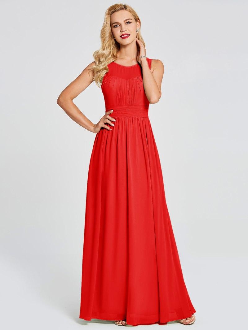 Ericdress Scoop Neck Pleats Chiffon Bridesmaid Dress