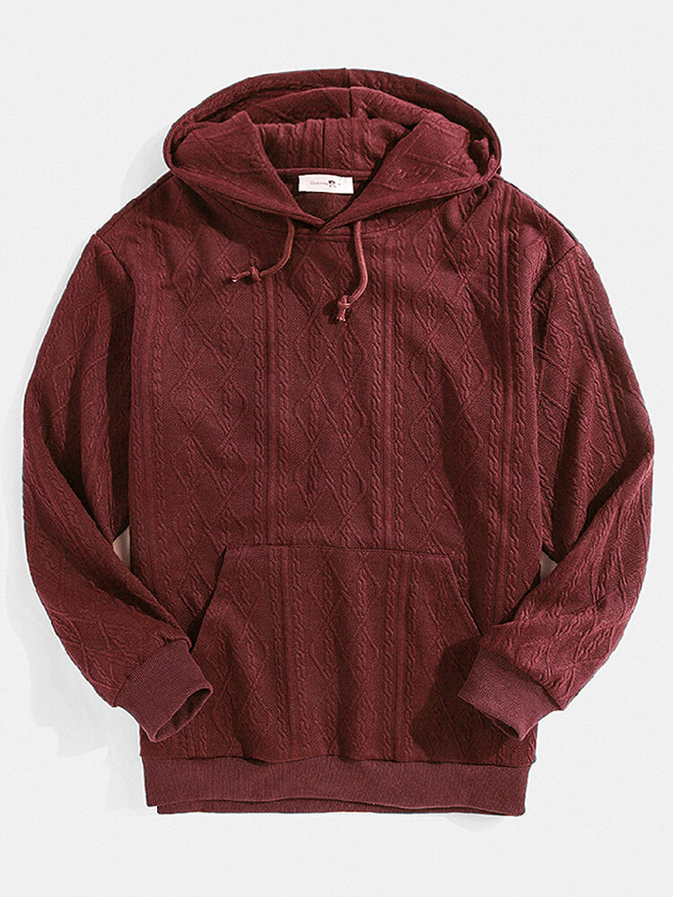 Mens Solid Color Jacquard Pullover Hoodies With Kangaroo Pocket