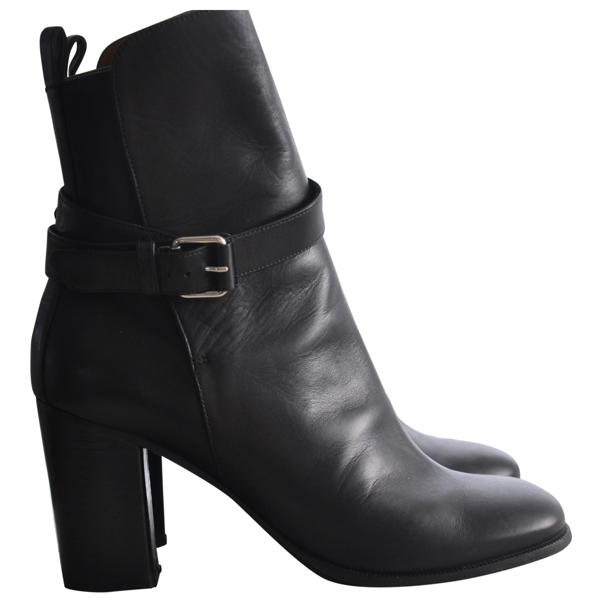 Celine \N Black Leather Ankle boots for Women 38.5 EU