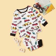 Kleinkind Jungen Schlafanzug Set mit Auto Muster
