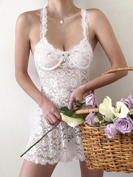 Milanoo Lace Dresses White Backless Sheer Sexy Slip Dresses