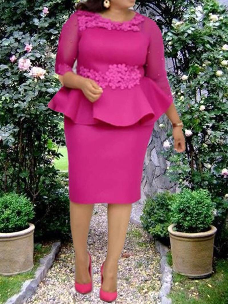 Ericdress Plus Size Three-Quarter Sleeve Round Neck Lace Sweet Women's Dress
